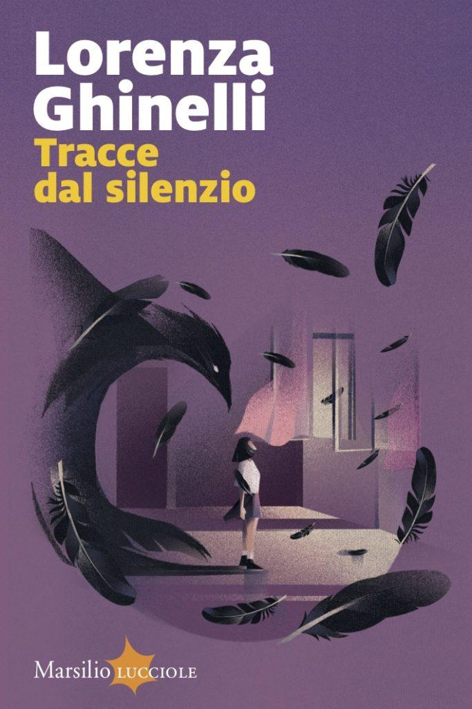 Tracce dal silenzio. Copertina viola con bambina al centro che proietta l'ombra di un corvo.